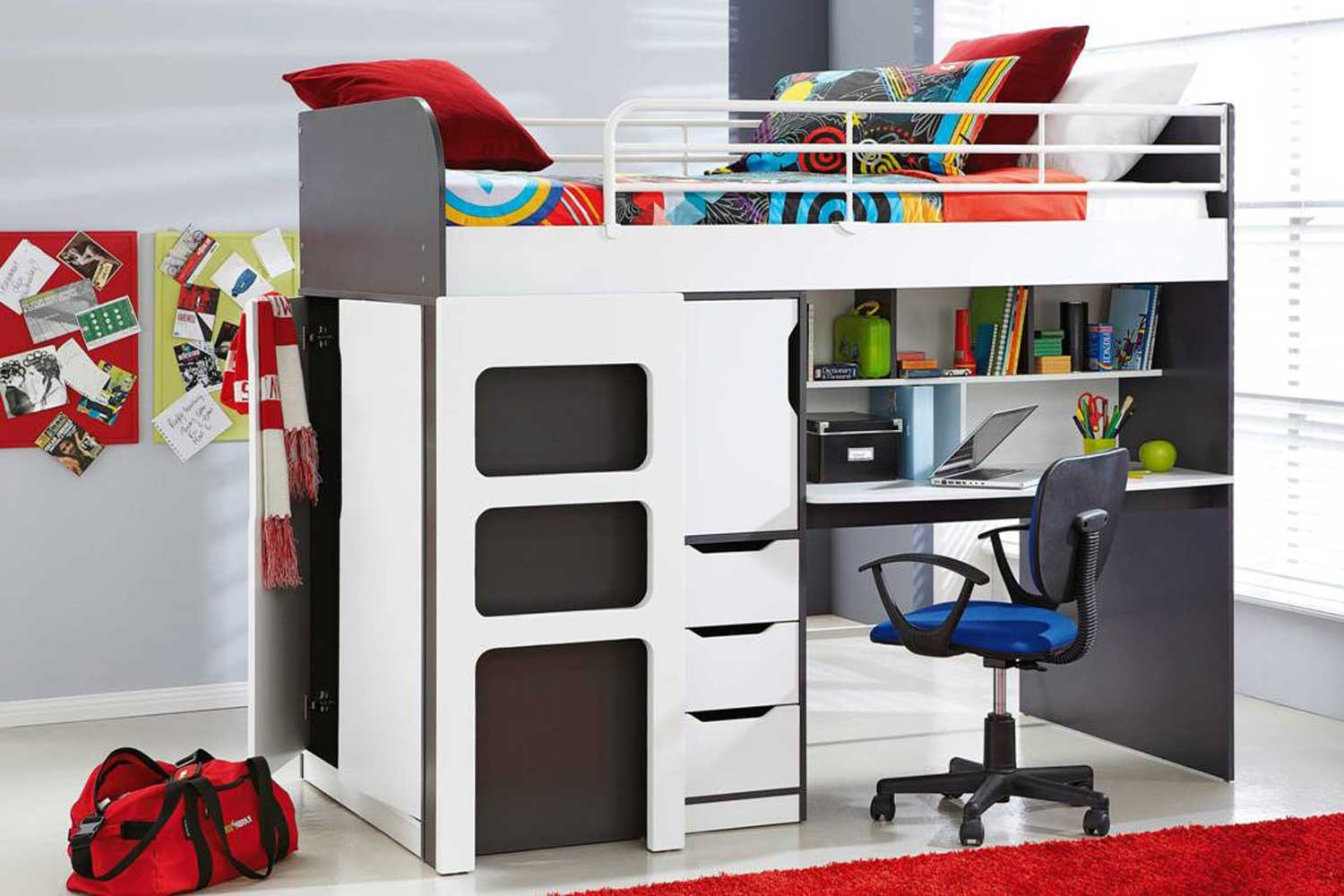 Oxford Single Bunk Bed Frame with Workstation by John