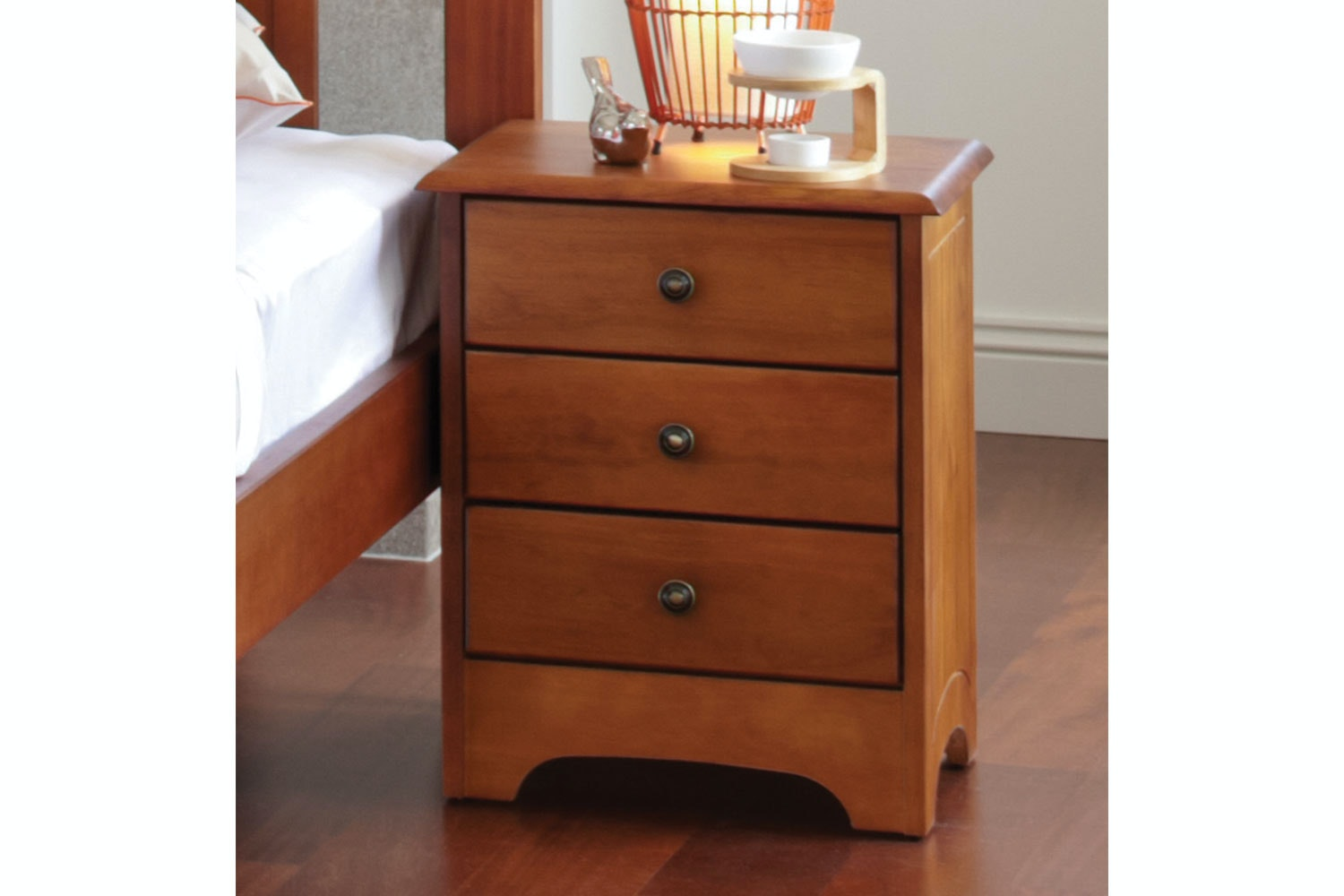 Calais 3 Drawer Bedside Table by Coastwood - WS Rimu