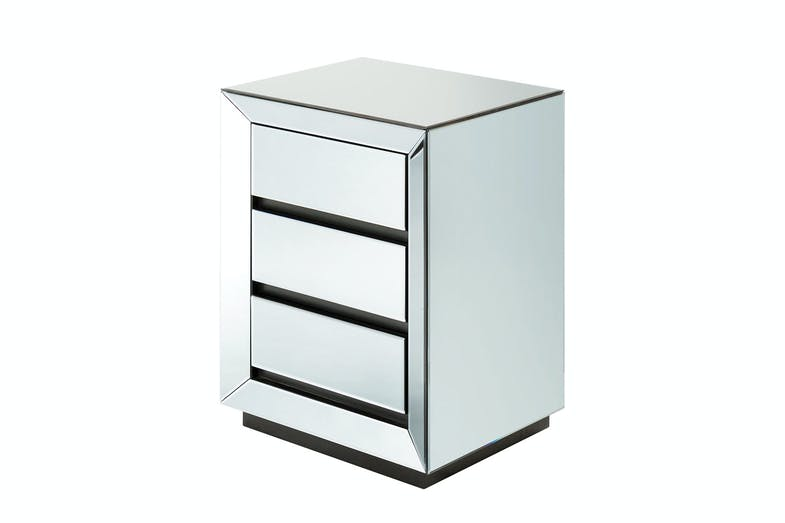 Luma Smoked Mirrored Bedside Table by Nero Furniture