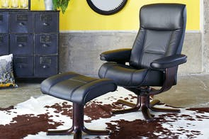 Viking Leather Recliner Chair and Footstool - Standard - Prime - IMG