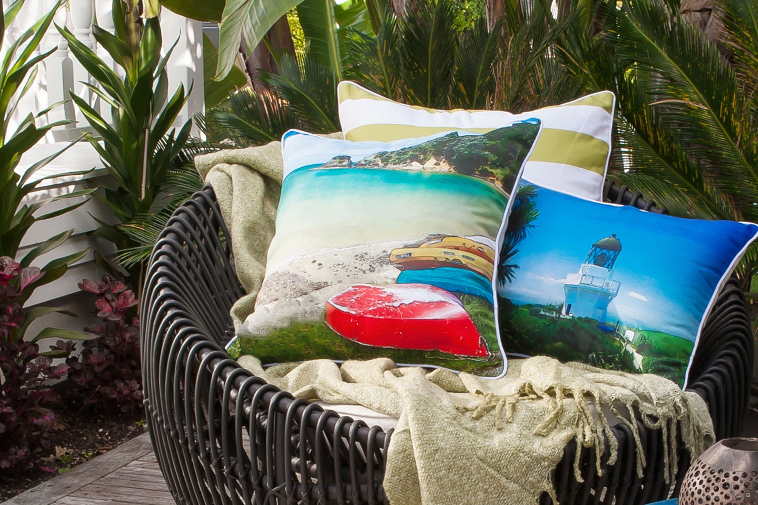 Te Werahi Beach Square Cushion by Mulberi
