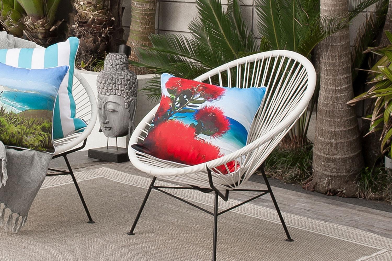 Pohutukawa Flowers Square Cushion by Mulberi