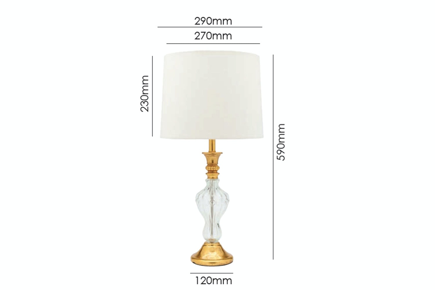 Cate Table Lamp by Shady Lady Measurements