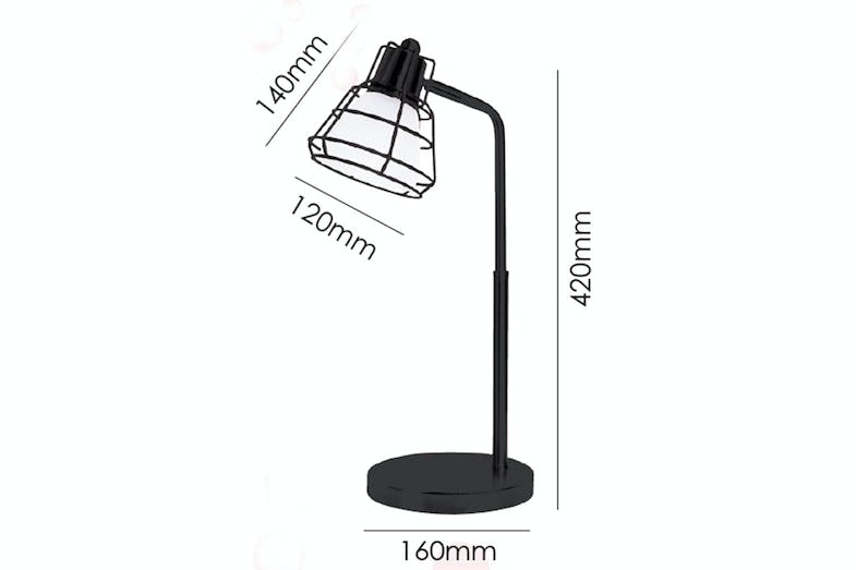 Nick Table Lamp by Shady Lady Black with measurements