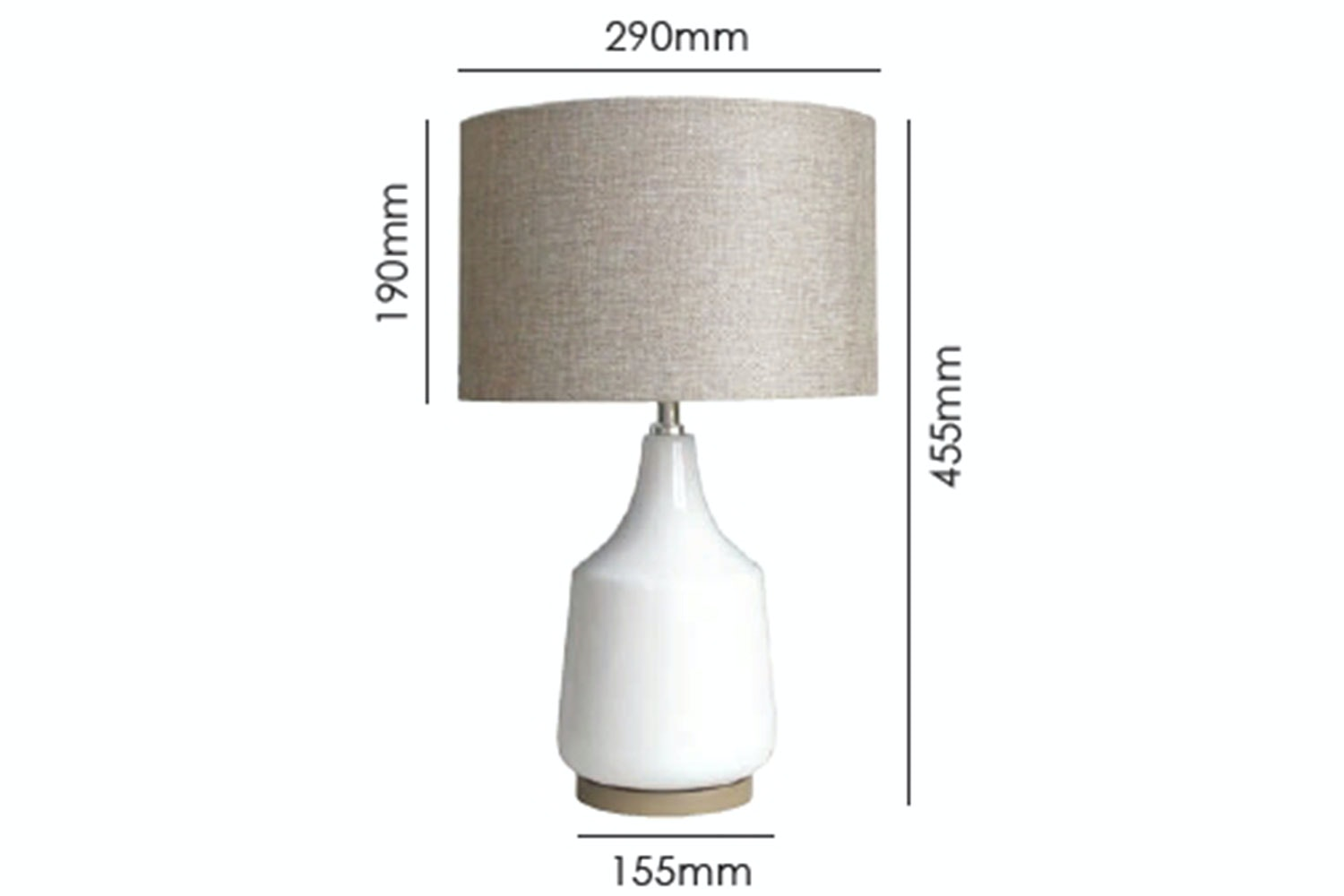 Torquay Table Lamp by Shady Lady Measurements