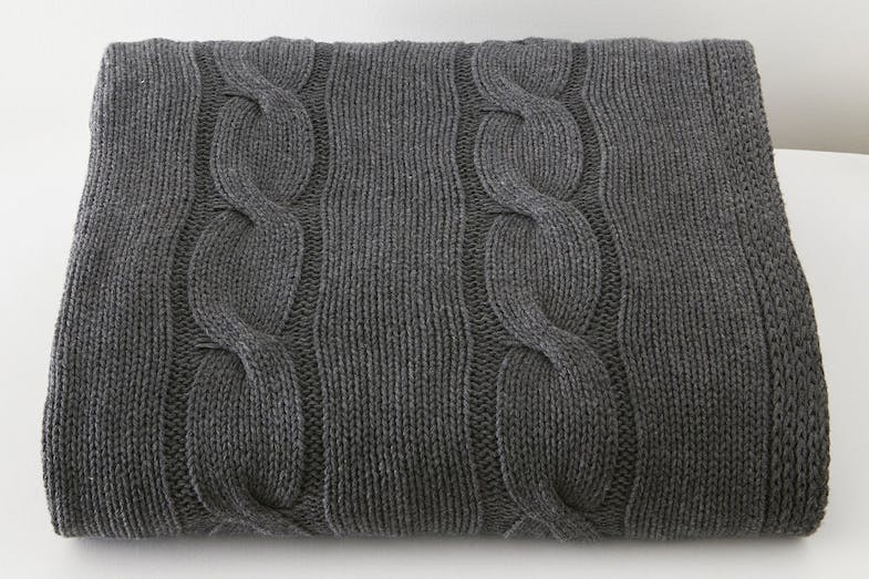 Cable Knit Throw by Baksana - Graphite