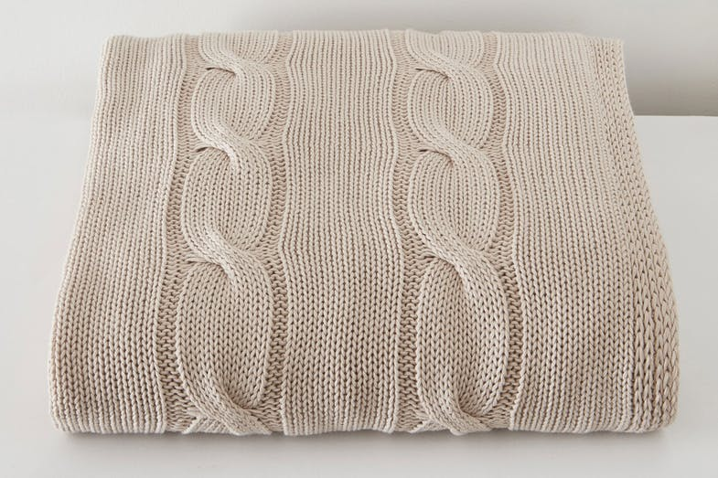 Cable Knit Throw by Baksana - Sand