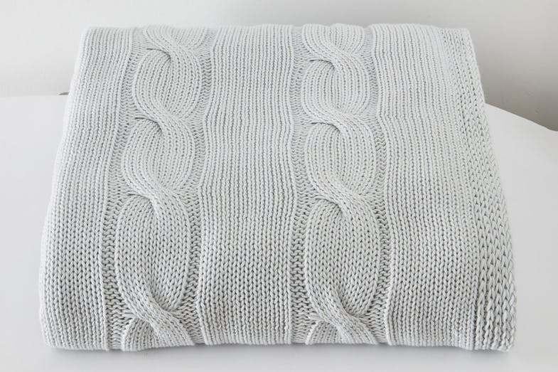 Cable Knit Throw by Baksana - Seafoam
