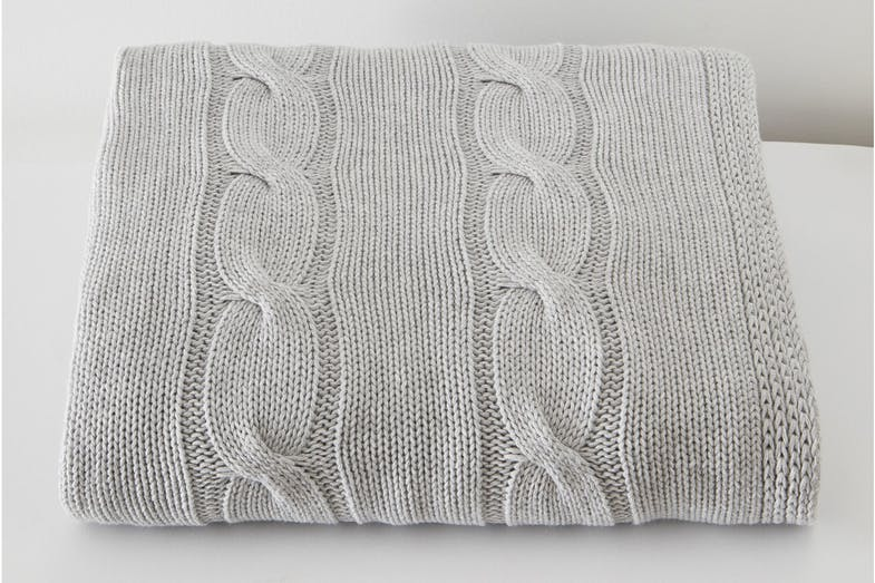 Cable Knit Throw by Baksana - Silver