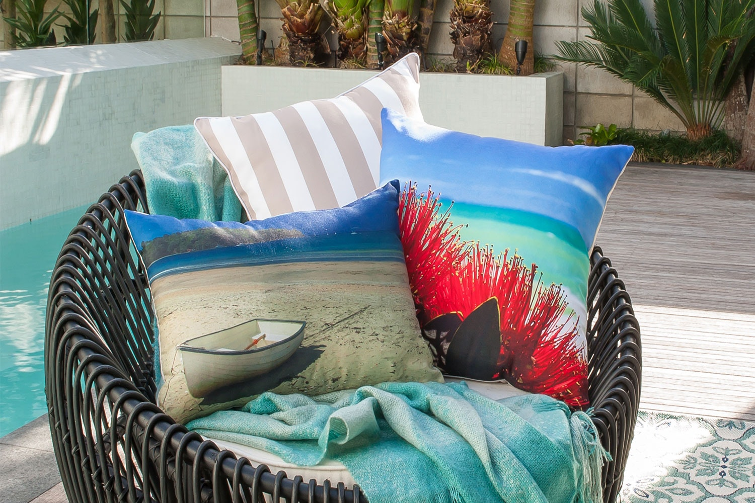 Pacific Pohutukawa Square Cushion by Limon