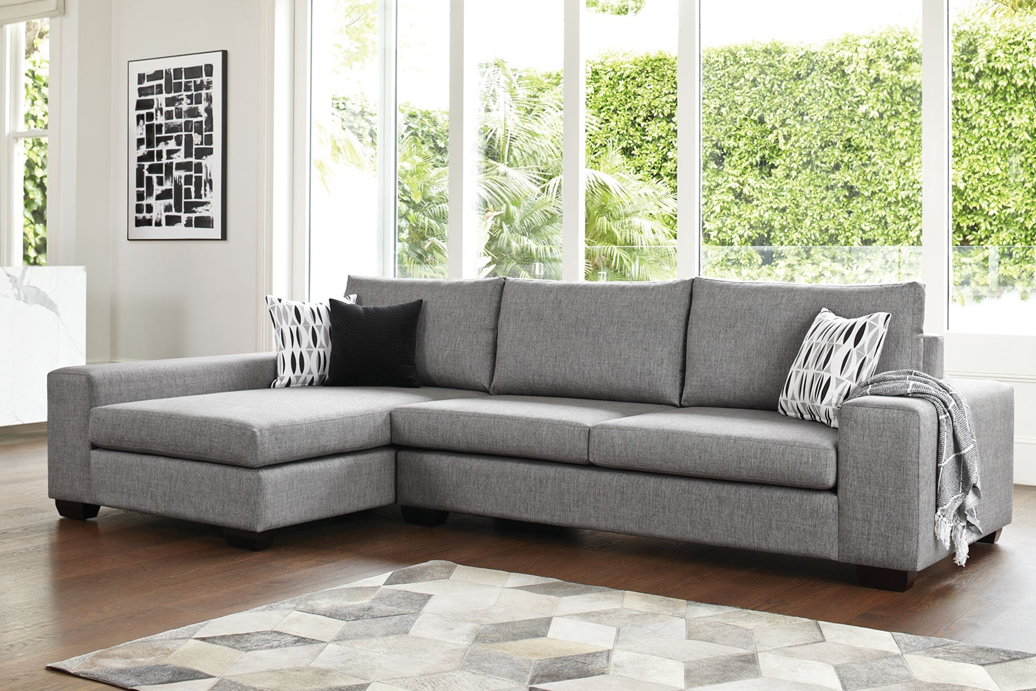 Kingdom 4 Seater Fabric Sofa with Chaise by Furniture Haven