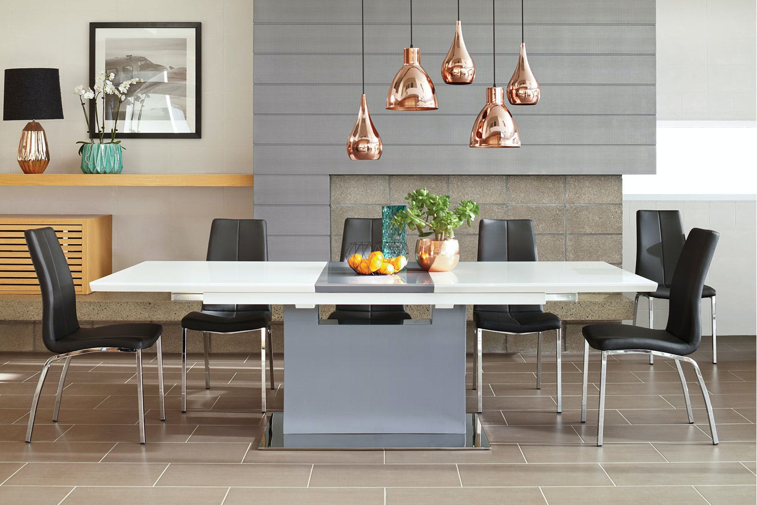 Dallas extension dining table with grey insert by synargy