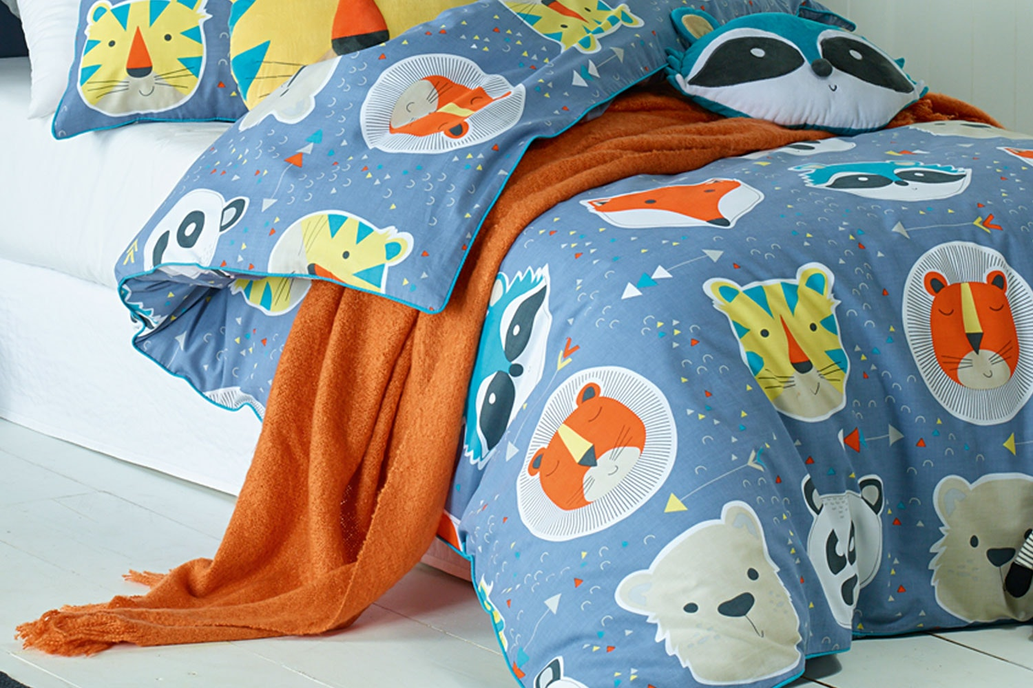 Funny Faces Duvet Cover Set  by Jiggle and Giggle - Throw