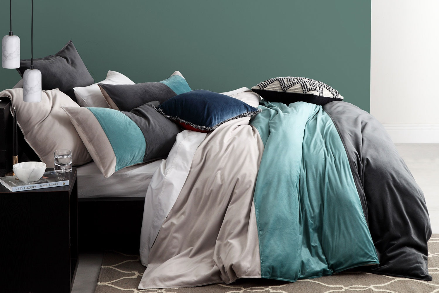 Parker Teal Duvet Cover Set by Platinum Collection