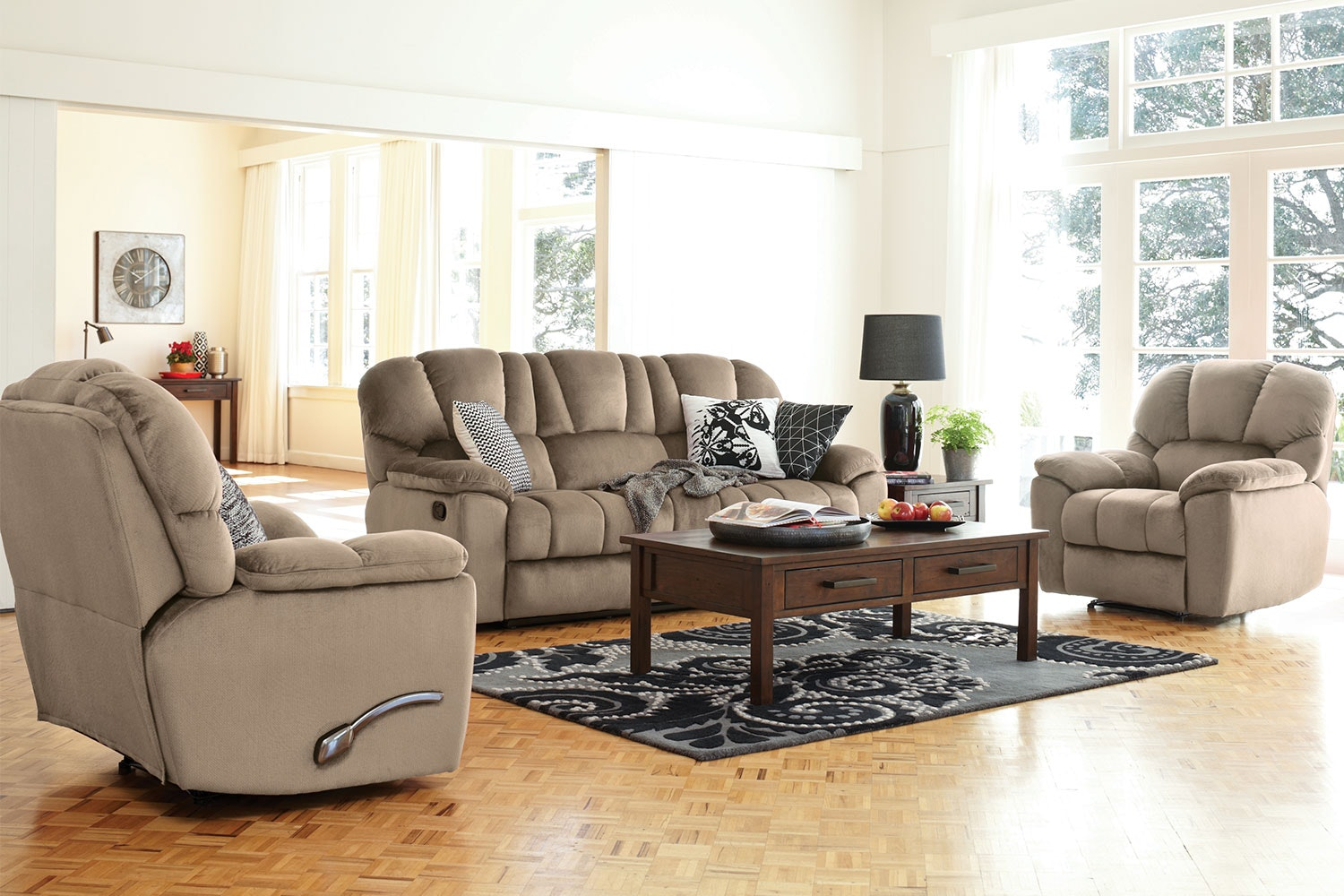 Scottland 3 Piece Fabric Recliner Lounge Suite by John Young Furniture - Latte
