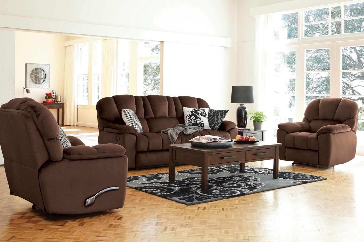 Scottland 3 Piece Fabric Recliner Lounge Suite by John Young Furniture - Truffle