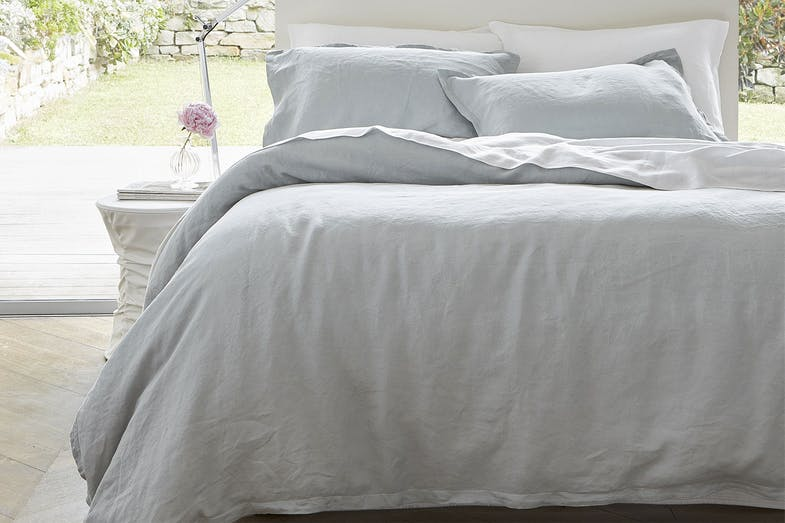 Linen Aqua Duvet Cover Set by Baksana