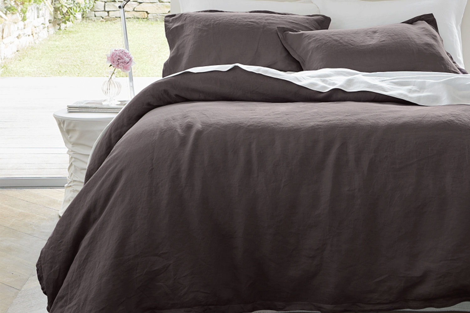 Linen Slate Duvet Cover Set by Baksana