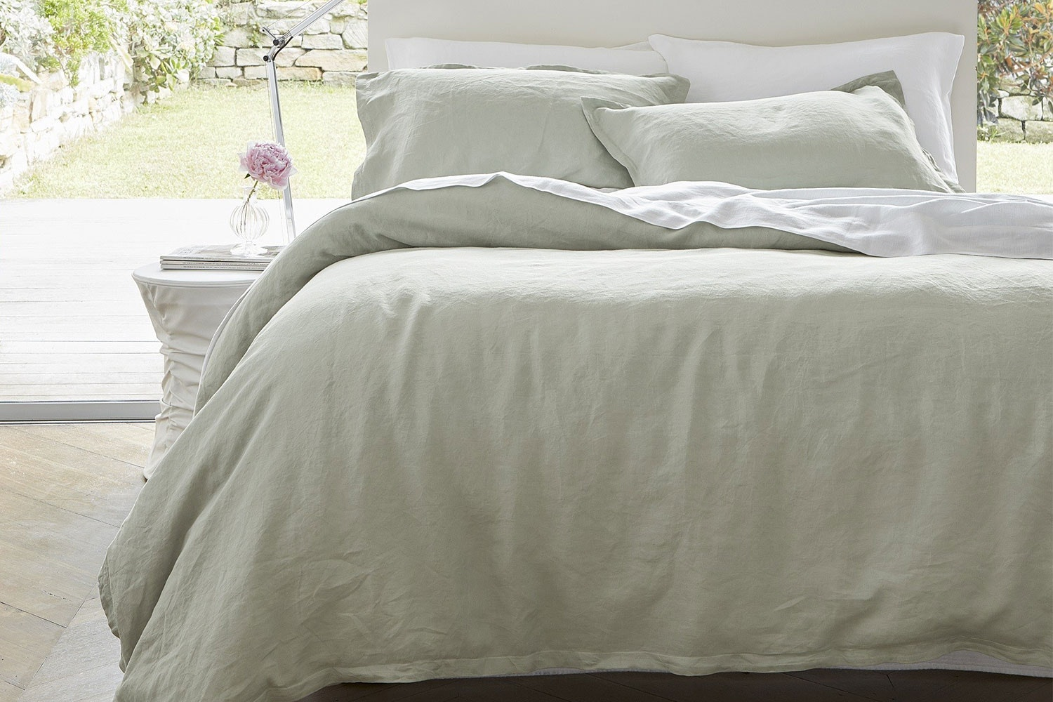 Linen Smoke Duvet Cover Set by Baksana