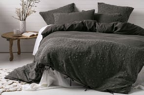 Abigail Charcoal Duvet Cover Set by Savona