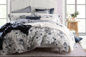 Carnation Denim Duvet Cover Set by Florence Broadhurst