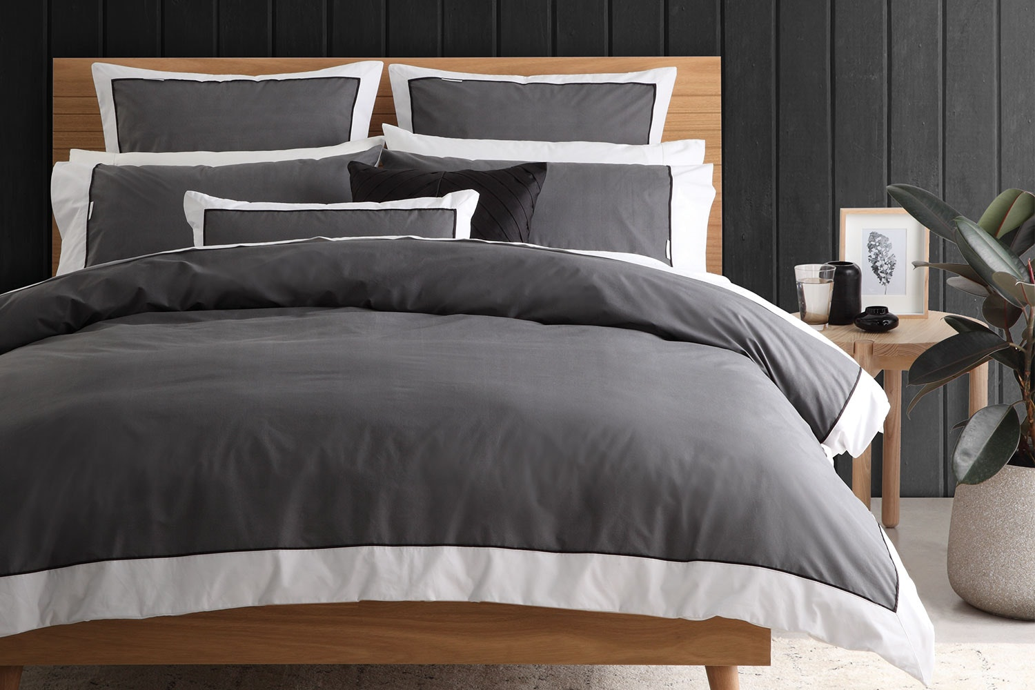 Essex Charcoal Duvet Cover Set by Logan and Mason