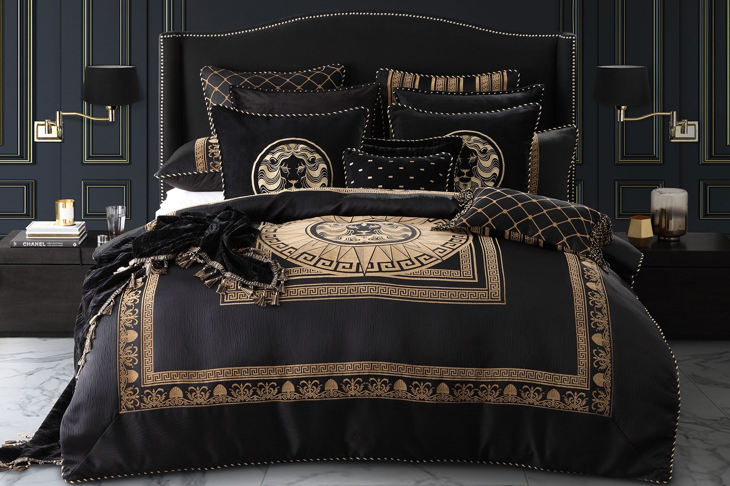 Massimo Black Duvet Cover Set by Da Vinci
