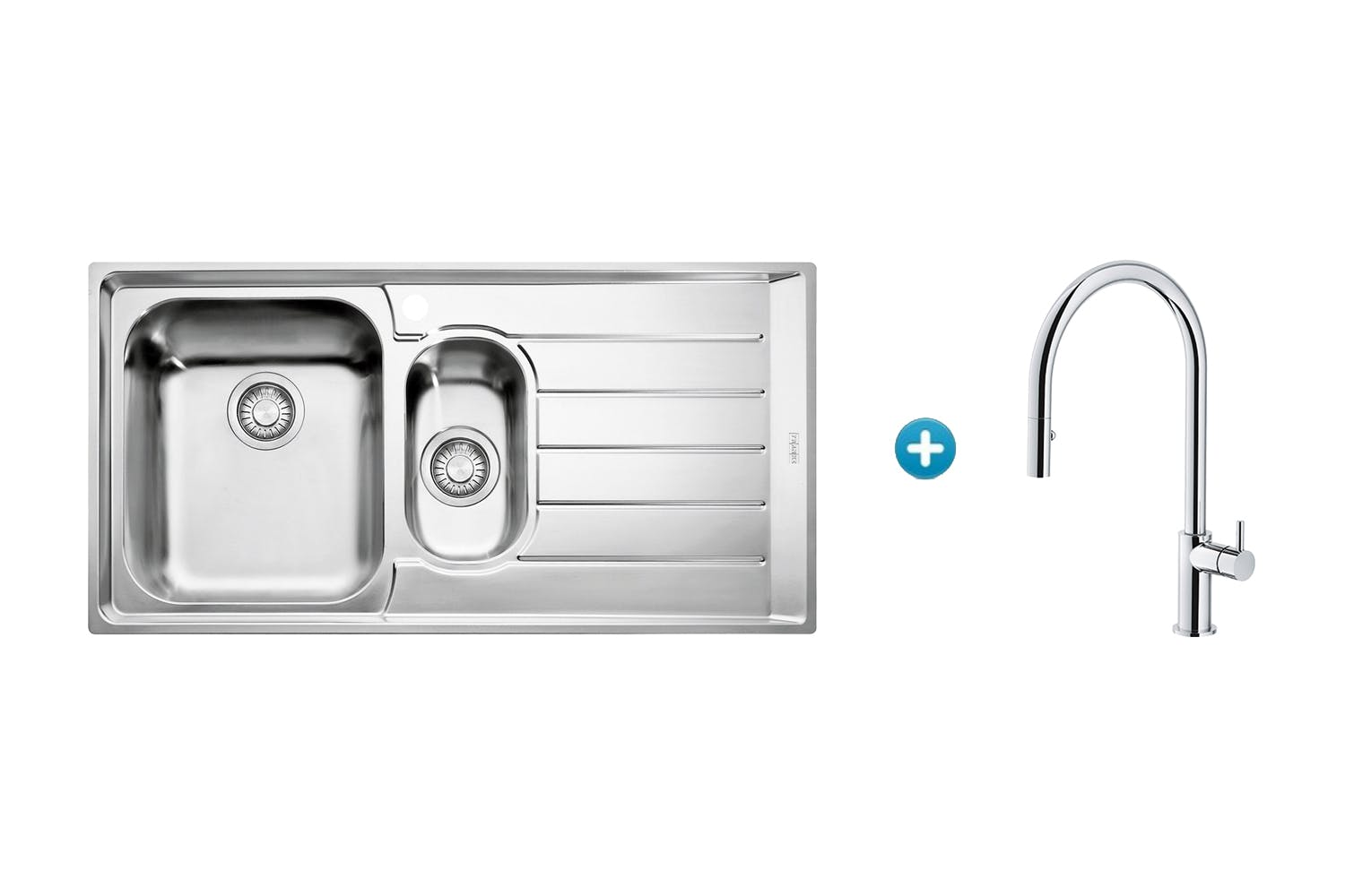Franke Neptune Right Hand Sink & Verona Pull Out Tap Combo | Harvey ...