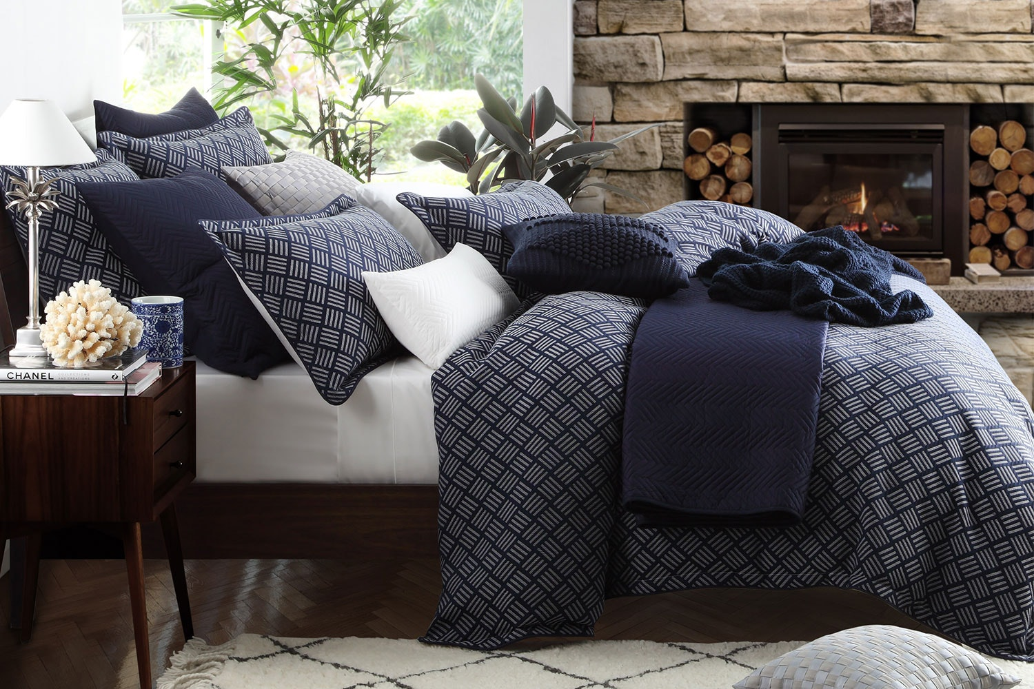 Norwood Navy Duvet Cover Set by Private Collection