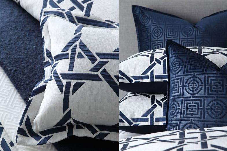 Octagonal Lattice Ink Duvet Cover Set by Florence Broadhurst