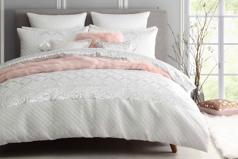 duvet white set sequin ebay cover shimmer itm bedding bed linen diamante embellished
