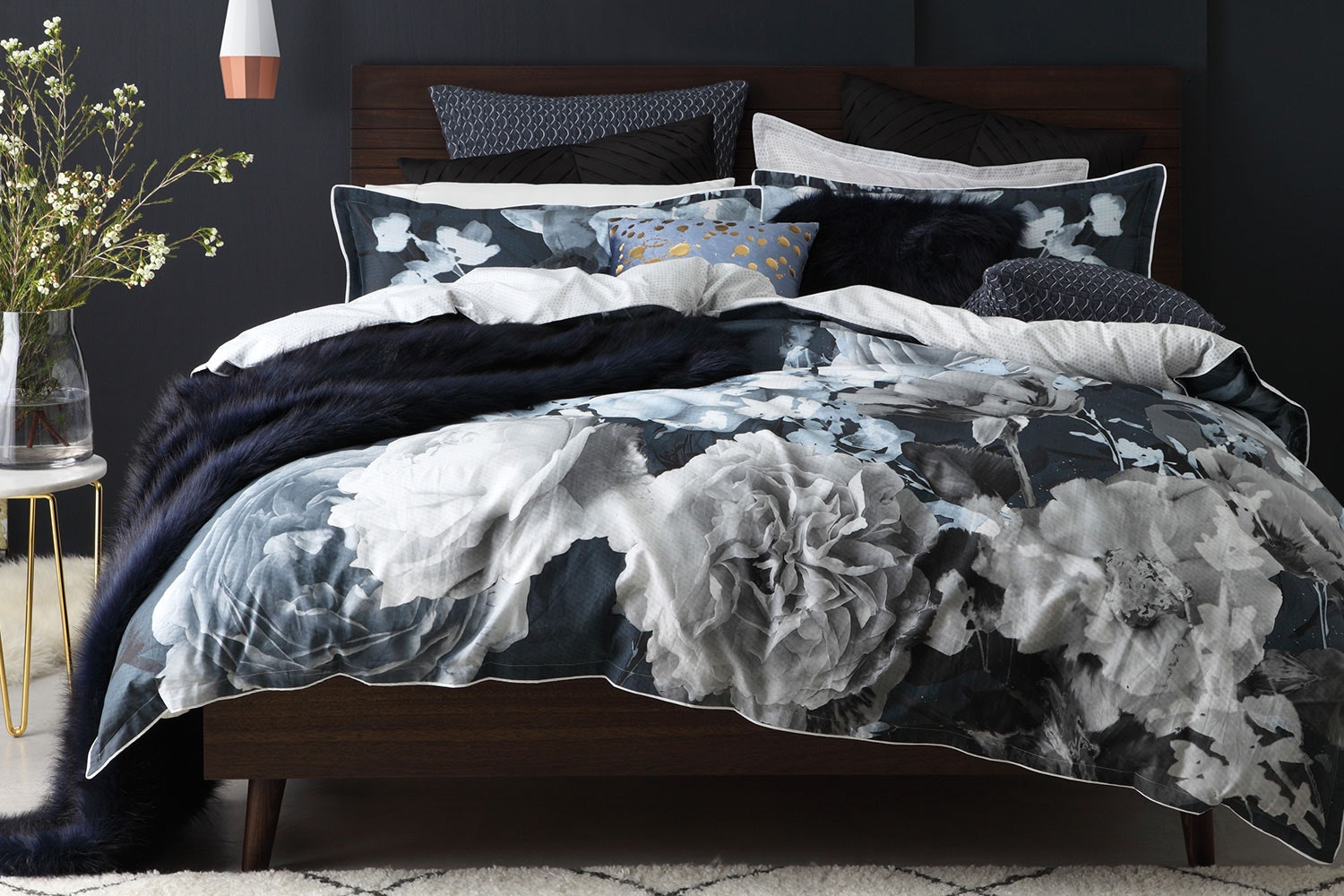 Tess Charcoal Duvet Cover Set by Logan and Mason
