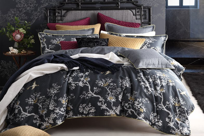 The Cranes Charcoal Duvet Cover Set by Florence Broadhurst
