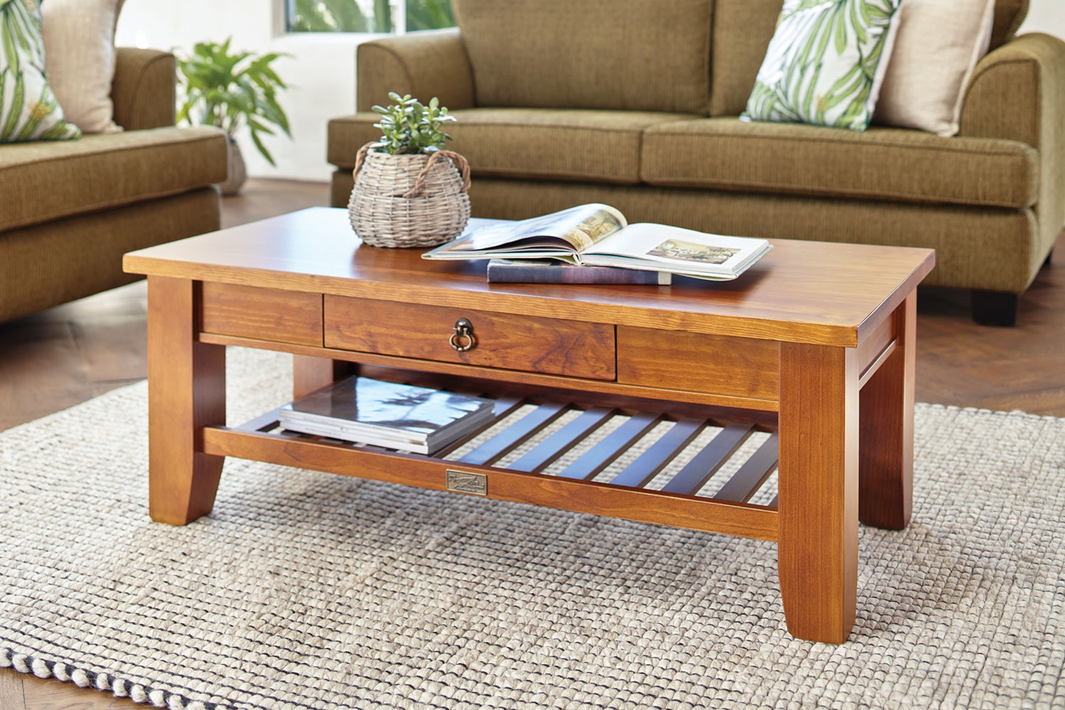 Ferngrove Coffee Table with Rack and Drawer by Coastwood Furniture