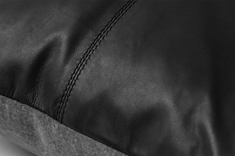 Rossmore Leather Cushion by Sheridan - Carbon Close Up