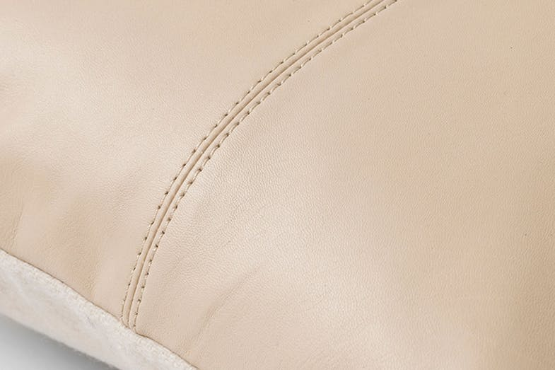 Rossmore Leather Cushion by Sheridan - Sand Close Up
