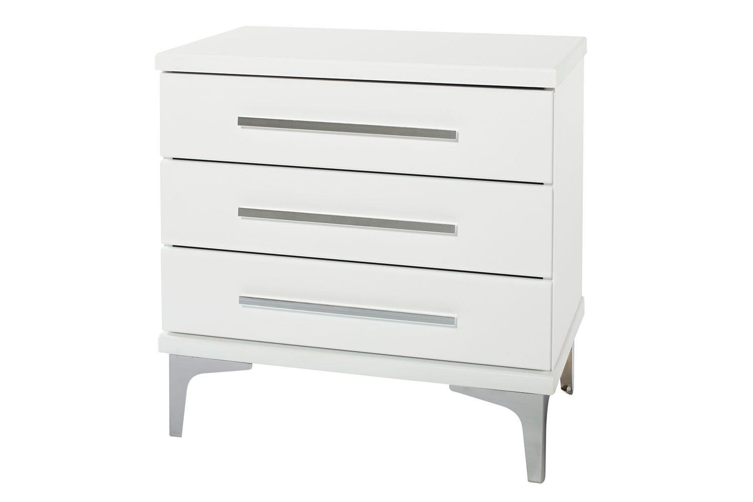 Salento 3 Drawer Bedside Table by Compac Furniture - Chrome