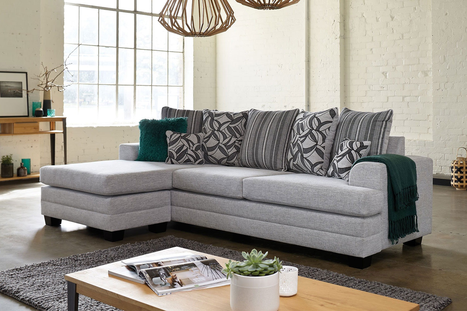 Evolution 3 Seater Fabric Sofa with Chaise by White Rose Furniture