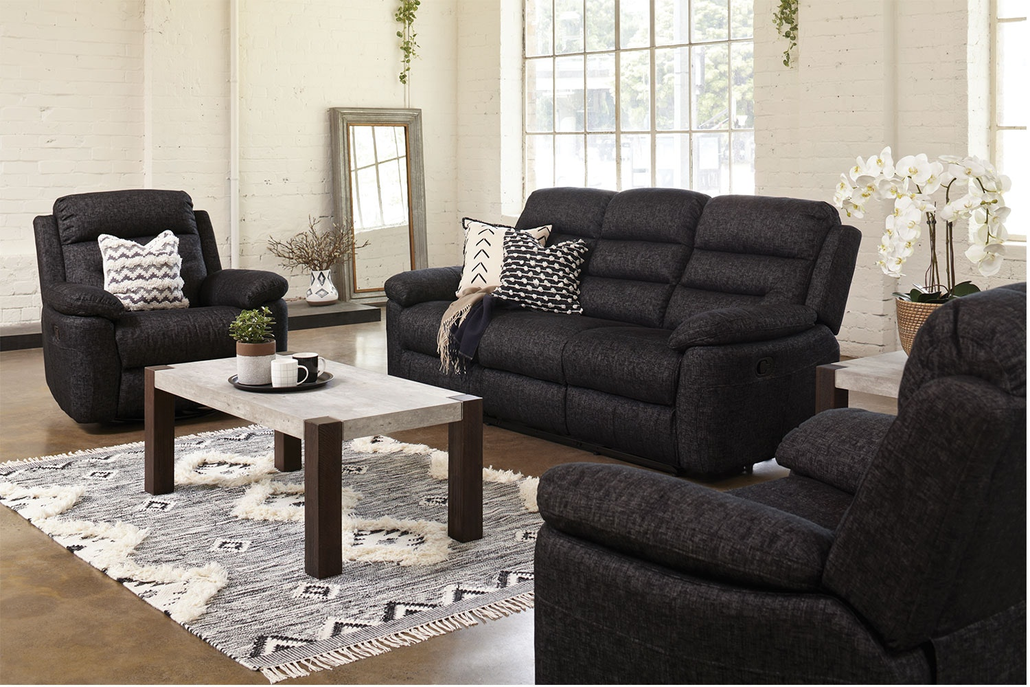 Maverick 3 Piece Fabric Recliner Lounge Suite