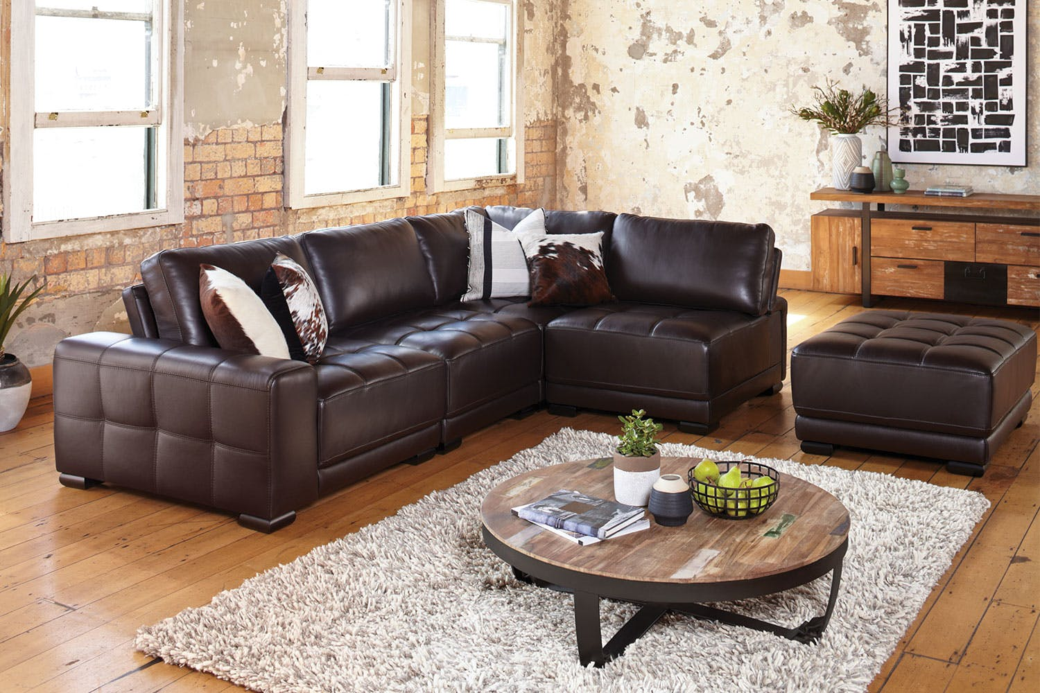 Bari Leather Modular Lounge Suite By Garry Masters Harvey Norman New Zealand