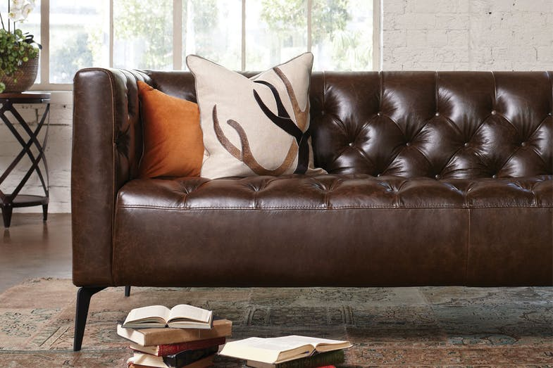 Canelli Leather Sofa by Debonaire Furniture - Close Up
