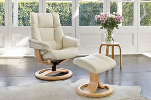Freya Leather Recliner Chair and Footstool - Standard  - Trend - IMG