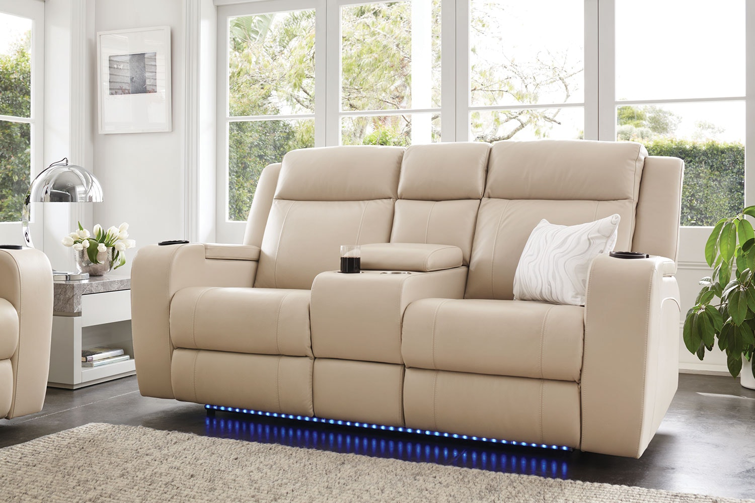 Ivory Marina 2 Seater Leather Recliner Sofa by Synargy
