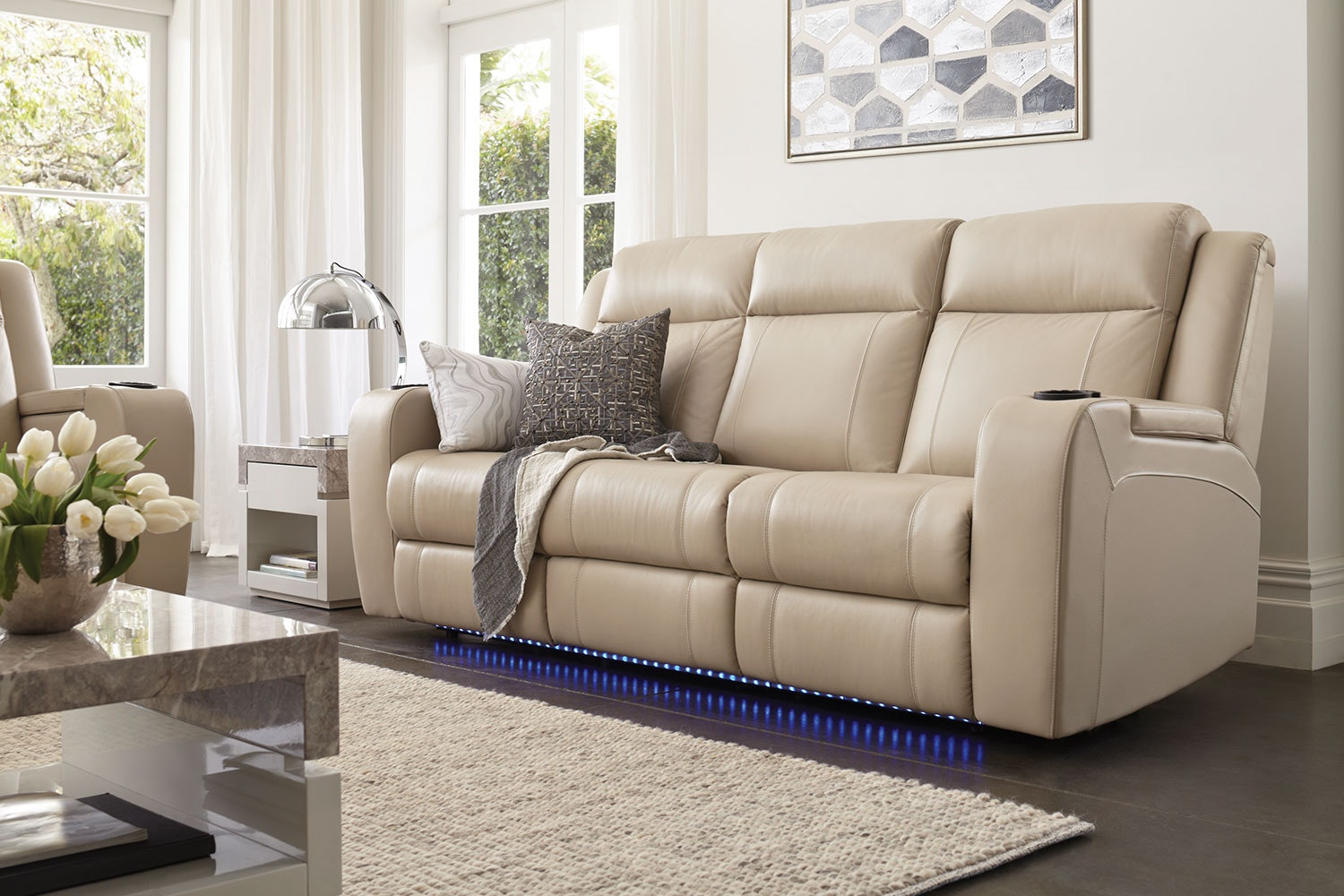 Marina 3 Seater Leather Recliner Sofa By Synargy ...