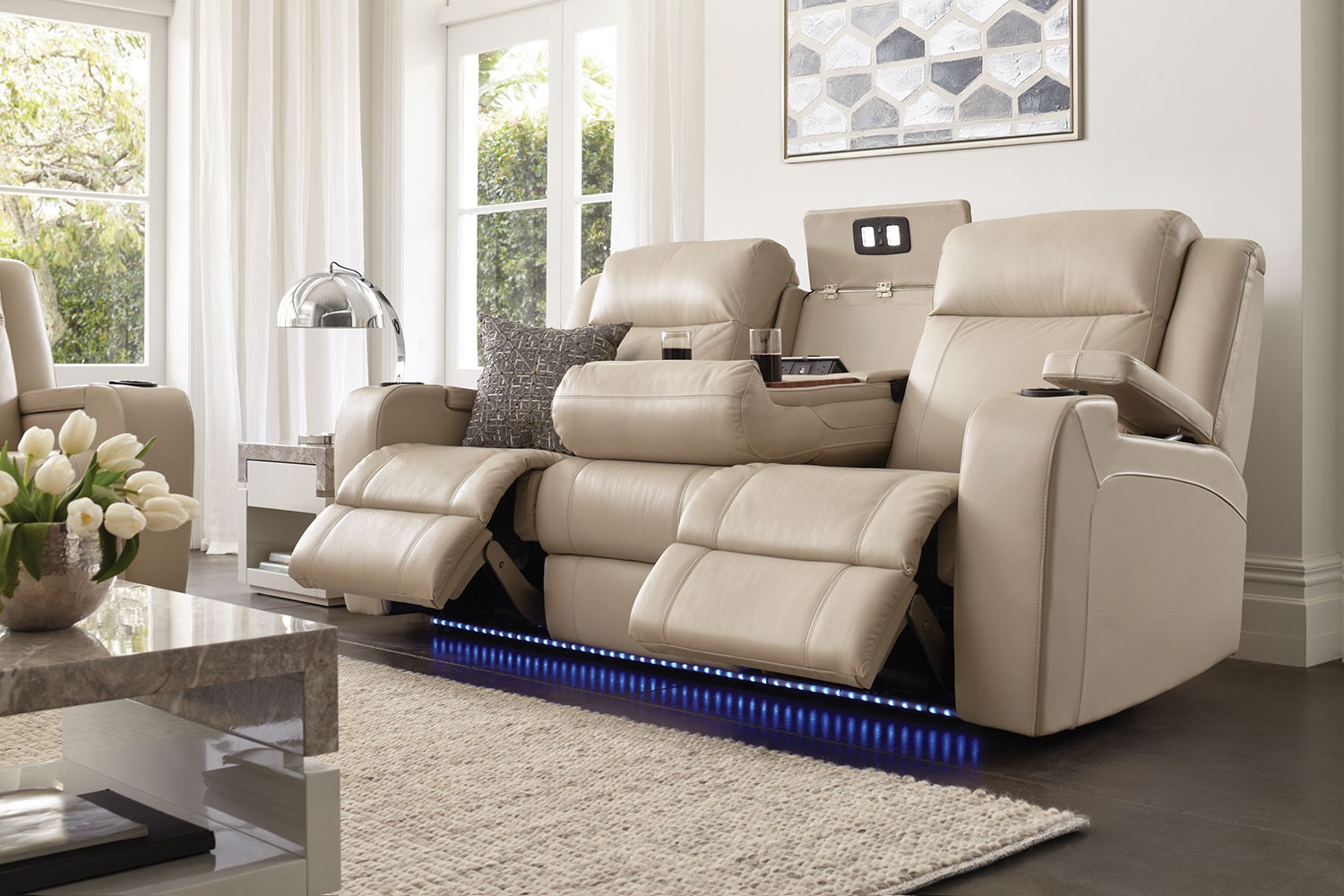 Marina 3 Seater Leather Recliner Sofa by Synargy