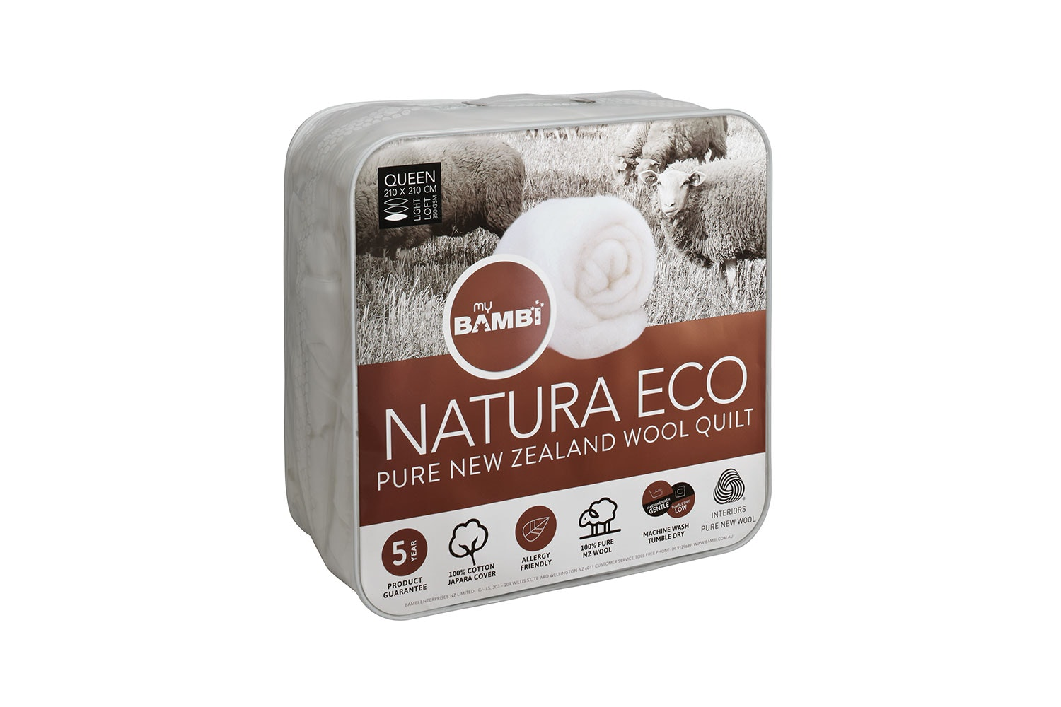 Natura Eco NZ Wool 350gsm Duvet Inner by Bambi