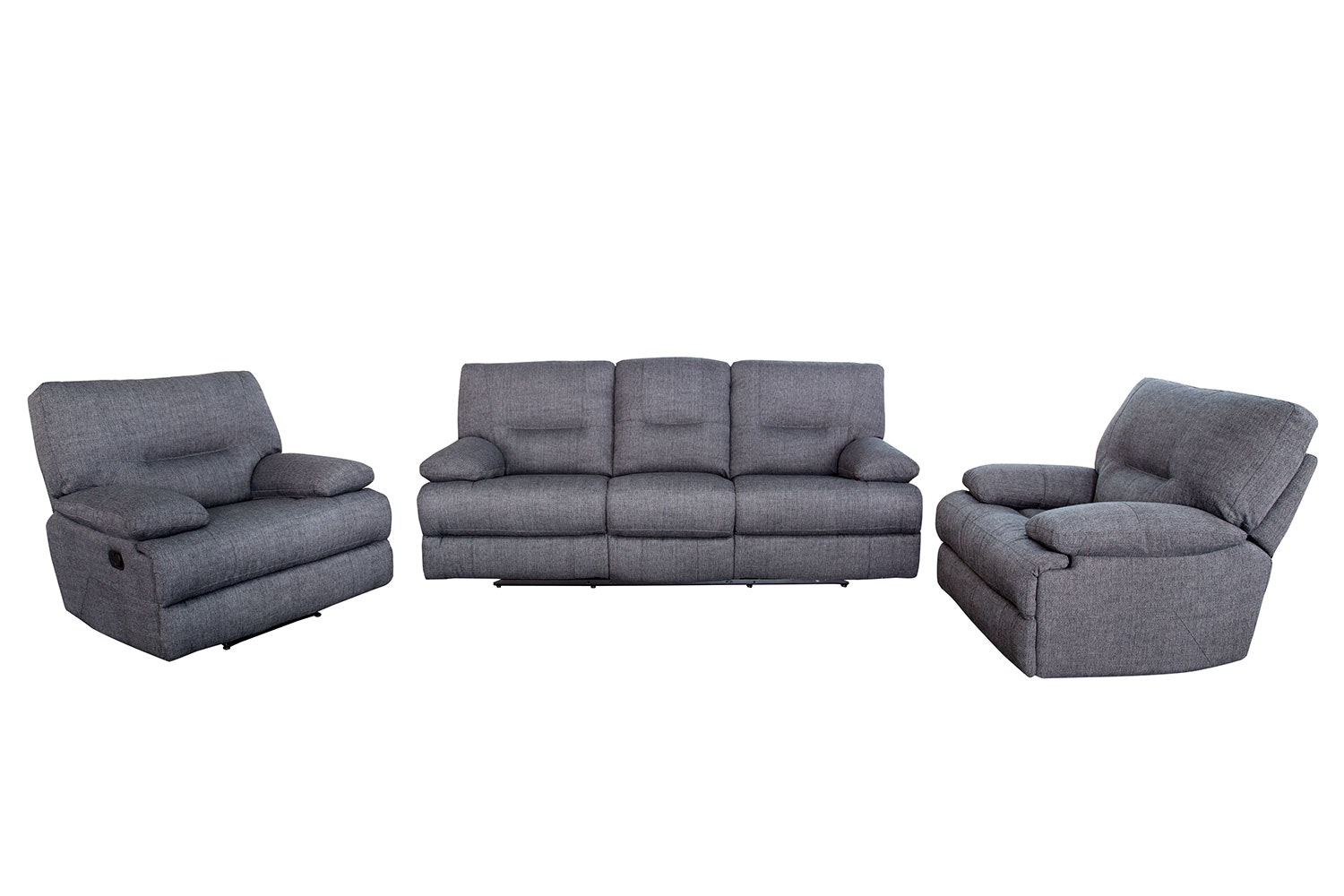 Dante 3 Piece Fabric Recliner Lounge Suite