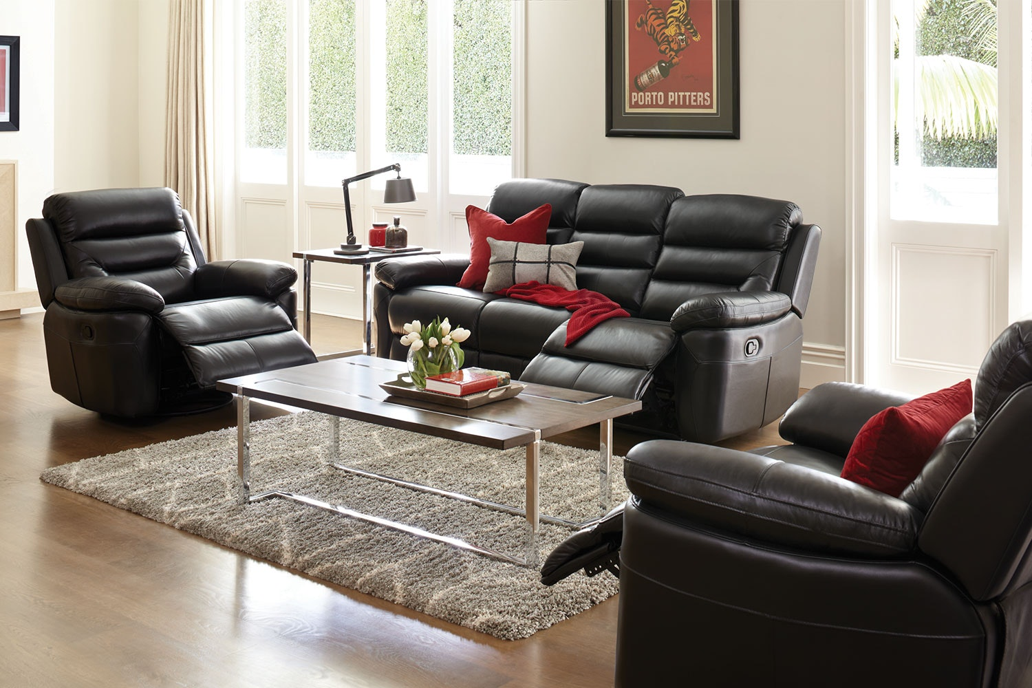 Maverick 3 Piece Leather Recliner Lounge Suite