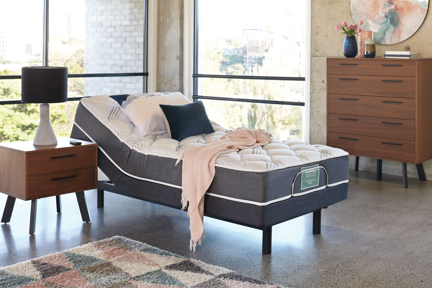 Sleepmaker Dream Support Medium King Single Mattress with Lifestyle Adjustable Base by Tempur