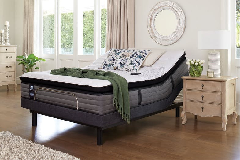 Sealy Posturepedic Parkwood Medium Queen Mattress with Lifestyle Adjustable Base by Tempur